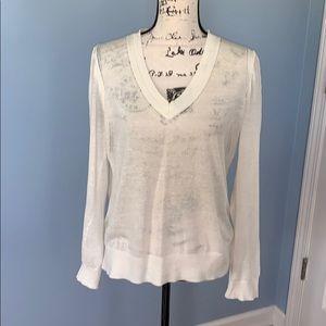LOFT medium light cream sweater v-neck
